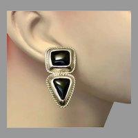 Black Onyx Earrings, Sterling Silver, Modern, Vintage Earrings, Thailand, Pierced Post, Big Statement, Contemporary, Black Earrings
