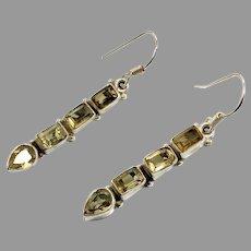 Citrine Earrings, Sterling Silver, Vintage Earrings, Pierced Dangle, Long, Ethnic