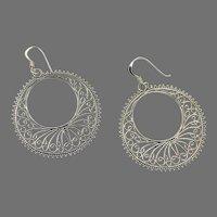 Boho Earrings, Hoops, Sterling Silver, Filagree, Vintage Earrings, Thailand, Big, Large, Ear Wire, Gypsy