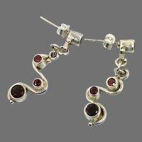 Garnet Earrings, Sterling Silver, Vintage Earrings, Red Stone, Pierced Earrings, Dangle