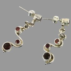 Garnet Earrings, Sterling Silver, Vintage Earrings, Red Stone, Pierced Earrings, Dangle