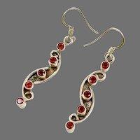 """Garnet Earrings, Sterling Silver, Vintage Earrings, Red Stone, 2"""" Long, Modern, Boho, Pierced Earrings, Dangle"""