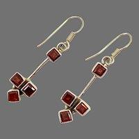 Garnet Earrings, Sterling Silver, Vintage Earrings, Red Stone, Modern, Pierced Earrings, Dangle, Multi Stone