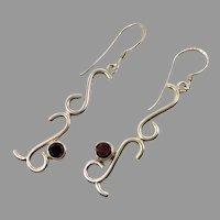 Garnet Earrings, Sterling Silver, Modern, Vintage Earrings, Red Stones, Long, Pierced Earrings, Dangle Earrings, Boho, Garnet Jewelry