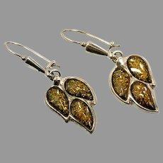 Amber Earrings, Sterling Silver, Green Amber, Vintage Earrings, NOS, Pierced Dangle, Leaf Earrings