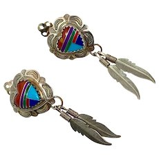 Heart Earrings, Turquoise, Inlay, Sterling Silver, Vintage Earrings, Clips, Feathers, Native American, Zuni, Country Western