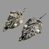 Leaf Earrings, Pearl, Onyx, Sterling Silver, Vintage Earrings, Handcrafted, Pierced, Unique, Unusual