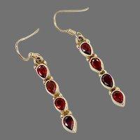 Garnet Earrings, Sterling Silver, Vintage Earrings, Red Stone, Long, Red Stone, Pierced Earrings, Dangle