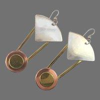Modern Earrings, Sterling Silver, Bronze, Copper, Mixed Metal, Pierced Dangle, Vintage Earring, Large, Long