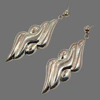 """Modern Earrings, Sterling Silver, 1980s, Huge, Pierced Dangle, Vintage Earring, Contemporary, 2 3/4"""" Long"""