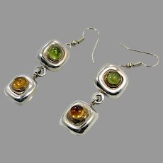 Peridot Earrings, Citrine Earrings, Sterling Silver, Vintage Earrings, Modern, Mexico, Pierced Dangle, Gold Accents, Tri-Color, Long