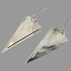 Modern Earrings, Sterling Silver, Artisan, Gurdal, Triangle, Geometric, Minimalist, Pierced Dangle, Vintage Earring