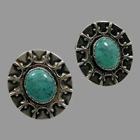Turquoise Earrings, Sterling Silver, Vintage Earrings, Unique, Handcrafted, Pierced Posts