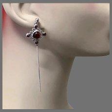 Garnet Earrings, Sterling Silver, Vintage Earrings, Red Stones, Pierced Earrings, Dangle Earrings, Long