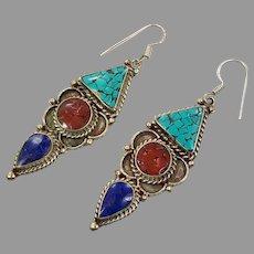 Turquoise Earrings, Lapis, Vintage Earrings, Tibetan, Nepal, Red Coral, Inlaid, Long