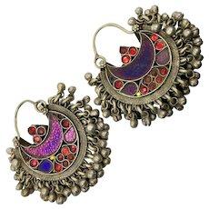 Hoop Earrings, Boho, Kuchi Earrings, Ear Weights, Purple, Red, Pierced, Silver, Patina, Ethnic, Tribal, Afghan, Bohemian