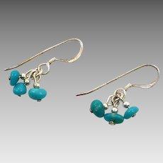 Turquoise Earrings, Artisan, Sterling Silver, Beaded Dangle, Boho Jewelry, Bohemian, Southwestern, Cha Cha Earrings, 925, Pierced Earrings