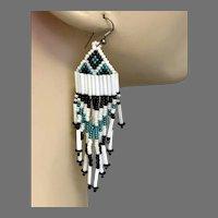 Fringed Earrings, Turquoise, White, Black, Seed Beaded, Vintage Earrings, Boho Gypsy, Woven, Long, Boho, Southwestern