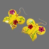 Butterfly Earrings, Kitschy, Huge, Vintage Earrings, NOS, 1980s, 80s, Painted Wood, Yellow, Dangle, Pierced, Retro, Big Statement