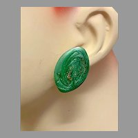 Enameled Earrings, Green Swirl, Gold Glitter, 1980s, 80s, Vintage Earrings, Modern, Retro, Mod