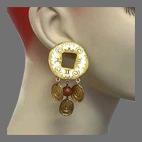Gold Earrings, 1980s, 80s, Pierced, Big Statement, Vintage Earrings, Door Knocker, Huge, Retro, Contemporary