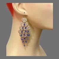 Heart Earring, Massive, Gold Filagree, Blue, Vintage Earrings, 1980s, 80s, Dangle, Retro, Boho, Huge, Long, Pierced Earrings
