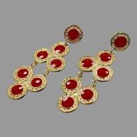 Red Earrings, Earrings, 1980s, 80s, Pierced, Dangle Earrings, Big Statement, NOS, Vintage Earrings, Huge, Oversized, Retro
