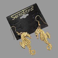 Seahorse Earrings, Vintage Earrings, NOS, 1980s, 80s, Gold Earrings, Big, Beach, Sea Horse, Pierced Dangle, Mermaid Jewelry