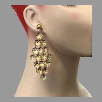 Massive Earrings, NOS, Vintage Earrings, 1980s, 80s, Gold Dangle, Huge, Lightweight, Long, Pierced Earrings, Boho, Festival Jewelry