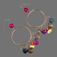 Boho Earrings, Dangle Hoops, Colorful, Vintage Earrings, Silver Metal, Gypsy Hippie, Bohemian, Rainbow, Big Large