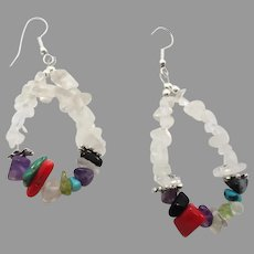 Mixed Stone Earrings, Quartz Crystal, Amethyst Turquoise, Gemstone Chips, Vintage Earrings, Boho Jewelry, Bohemian, Big Hoop, Statement