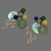 Angel Earrings, Shell, Leaf, Charms, Vintage Earrings, 1980s, 80s, Painted Metal, Pink, Turquoise