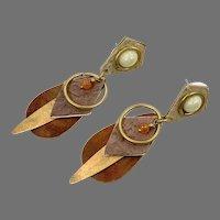 Boho Earrings, Copper, Brass, Mixed Metal, Vintage Earrings, NOS, Big Earrings, 1980s, Pierced, Patina, Artsy
