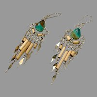 Peruvian Earrings, Turquoise, Chrysocolla, Gypsy, Silver, Vintage Earrings, Boho, Long Dangles, Big, Hippie