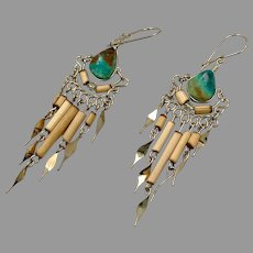 Peruvian Earrings, Turquoise, Chrysocolla, Gypsy, Silver, Vintage Earrings, Boho, Long Dangles, Big, Hippie
