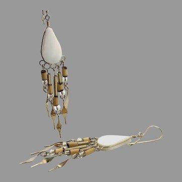 White Stone Earrings, Peruvian, Gypsy Earrings, Silver, Vintage Earrings, Ethnic Jewelry, Boho, Long Dangles, Big Earrings, Statement