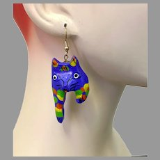 Cat Earrings, Purple, Earrings, Vintage Earrings, Kitschy, Orange, Yellow, Green, Big, Painted Wood, NOS