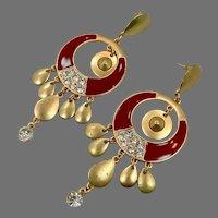 Red Earrings, Rhinestones, Vintage Earrings, Gold Tone, 1980s, 80s, Long Dangle, Pierced, Big, Large, Huge