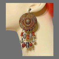 Mixed Metal Earrings, Vintage Earrings, 1980s, 80s, Massive, Silver, Brown, Wooden, Ethnic, Beads, Huge, Retro