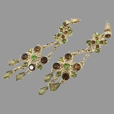 Gold Green Earrings, Elegant Ethnic, Vintage Earrings, Glass Rhinestones, Long, Faux Peridot, Faux Smoky Quartz, Jeweled, Dangles, Pierced