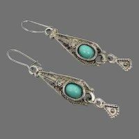 Ornate Earrings, Turquoise Glass, Robin's Egg Blue, Ethnic, Silver, Vintage Earrings, Pierced Dangle, Boho, Bohemian