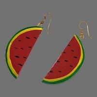 """Kitschy Earrings, Huge, Watermelon, Fruit, Lightweight, Vintage Earrings, 3"""" Long, 1980s, Oversized, Massive, Pierced, Big"""