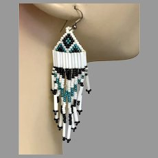 Fringed Earrings, Turquoise, White, Black, Seed Beaded, Vintage Earrings, Boho Gypsy, Woven, Long, Boho, Southwestern