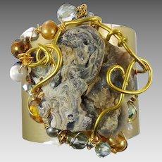 Druzy Bracelet, Stalagmite Cuff, Cuff Bracelet, Stalagtite, Statement Piece, Wire Wrapped, Beaded Cuff, Bohemian Jewelry, Boho Jewelry