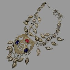 Karmir India, Vintage Necklace, Medallion Pendant, Middle Eastern, Tribal Silver, Afghan, Boho, Gypsy Necklace, Big Statement, Ethnic