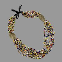 Afghan Necklace, Rainbow, Beaded, Kuchi, Glass, Torsade, Vintage Necklace, Middle Eastern, 15 Strands, Boho ,Tribal, Ethnic, Bohemian