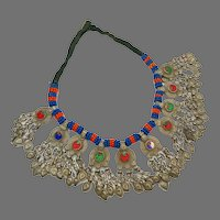 Afghan Necklace, Middle Eastern, Coin Necklace, Vintage, Blue, Kuchi Jewelry, Massive, Beads, Jewels, Big, Middle Eastern, Gypsy, Boho
