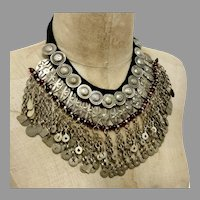 Gypsy Necklace, Massive, Boho Statement, Kuchi, Afghan, Huge Big, Vintage, Middle Eastern, Oversized, Silver, Belly Dance, Bohemian, Dangles