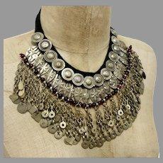 Gypsy Necklace, Massive, Boho Statement, Kuchi, Afghan, Huge Big, Vintage, Middle Eastern, Oversized, Silver, Belly Dance, Bohemian, Dangles