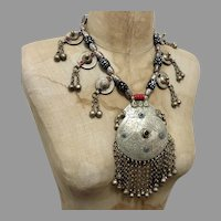 Massive Pendant, India Necklace, Kashmiri, Vintage Necklace, Middle Eastern, Silver, Big, Beaded, Pakistan, Middle Eastern, Afghan, Boho